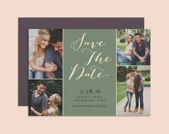 Save the Date Photo Collage, Save the Date Invitation, Printable Save the Date, Rustic Save the Date, Multiple Photos Save the Date, Green