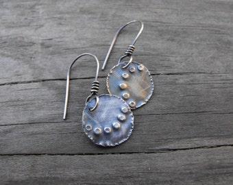 Rustic Silver Dangle Earrings Sterling Silver Dangle Earrings Stamped Silver Earrings Unique Silver Earring