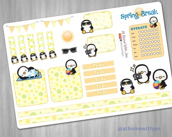 Spring Break Penguin Planner Stickers - for your Erin Condren Life Planner, Plum Planner, Filofax planner
