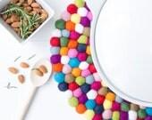 Felt Ball Placemat. 30cm Dining Wool Placemat. Centerpiece Placemat. Multicolor. Modern Dining Decor. Large Trivet Placemat. Wedding Parties