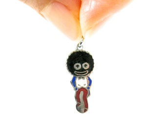 VINTAGE GOLLY CHARM - sweet Golliwog enamel charm for a bracelet, necklace, pendant / rare and collectable / Golden Shred advertising