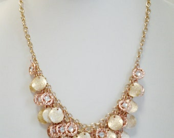 Gold and Rose Gold Chain Cascade Necklace /  Bib Necklace.