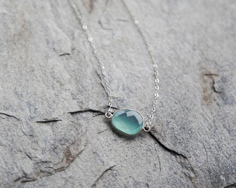 Aqua blue chalcedony necklace with sterling silver chain // Raindrop necklace // minimalistic necklace // layering necklace