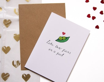 Cute Love Card - Like Two Peas In A Pod / Valentine's Day Card / Anniversary Card