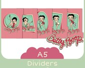 5 Dividers for filofax A5 - Printable - Betty Boop