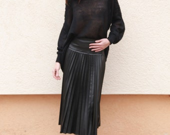Pleated Faux Leather Skirt/Ruffled Skirt/Party Skirt/Solei Skirt/Black Faux Leather Skirt/Black Skirt/MIDI Faux Leather Skirt/F1565