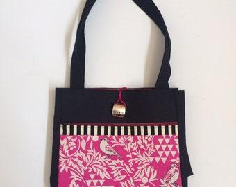 SALE Pink birdies Handmade Tote Bag