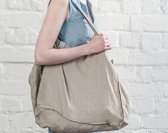 Large natural linen tote bag / linen beach bag