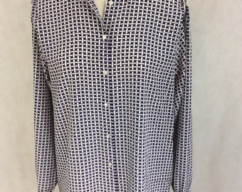 Vintage Blouse Shirt By Jaeger Purple White Check Long Sleeve Boho Chic Bohemian Hippy Secretary Teacher Scholl Mistress 38 ins