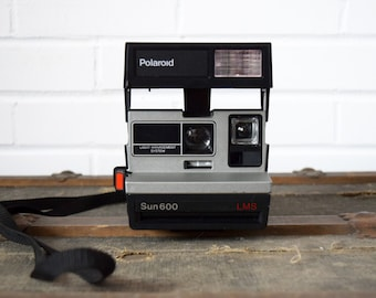 Vintage Camera - Polaroid Sun 600 LMS Instant Camera - Black White Red - Made in United Kingdom