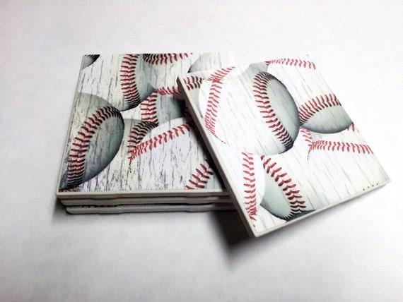 Https Www Etsy Com Listing 200303107 Baseball Coasters Baseball Decor