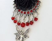 Faery Rose - Red Black and Antique Silver Fantasy Victorian Statement Necklace or Necklace And Earrings Set - Free US Shipping