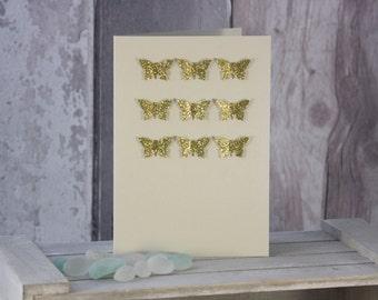 Gold Glitter 3D Effect Butterfly Card