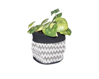 Soft Pot, Fabric Bucket, Geometric Tapestry, Black and white, Housewarming gift, 100% Cotton, Room decor, Scandinavian style