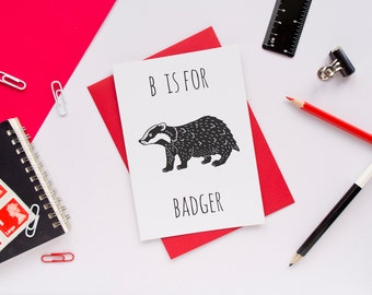 Badger Card / Badger Notecard / Animal Alphabet Card / Animal Alphabet / Hufflepuff Card / Notecard / Animal Card / Badger Birthday Card