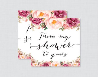 Printable Pink Floral Baby Shower Favor Tags - Rustic Flower From My Shower To Yours Tags - Instant Download - Pink Baby Favor Tags - 0059