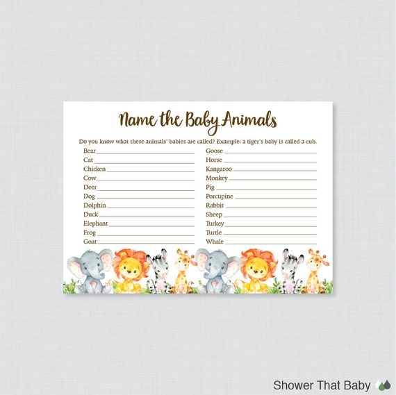 Baby Shower Game Name The Baby Animal: Safari Baby Animal Name Game Baby Shower Baby Animal Name