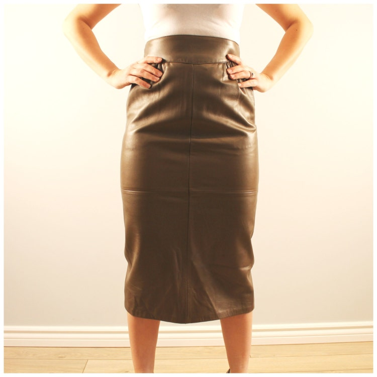 vintage leather skirt khaki green pencil skirt by