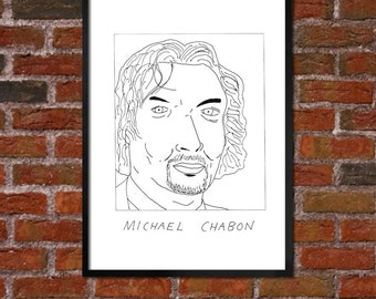 Badly Drawn Michael Chabon - Literary Poster - *** BUY 4, GET A 5th FREE***