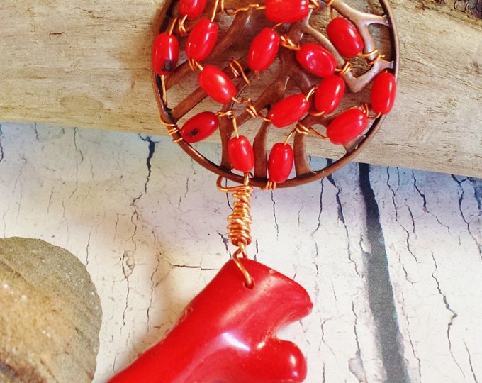 Red Coral Necklace ~ Long Bohemian Art Deco Copper Pendant ~ Wire Wrapped Tropical Inspired Birthday Gift for High Fashion Girlfriend, BFF