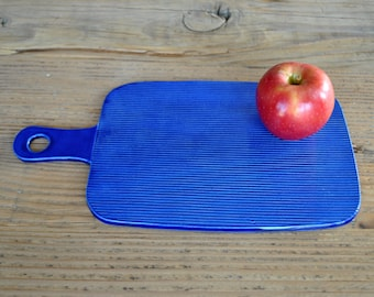 Stripy Cobalt Blue Board, Textured Handmade Ceramic, Cheese Board, Serving Plate, Pottery Tray