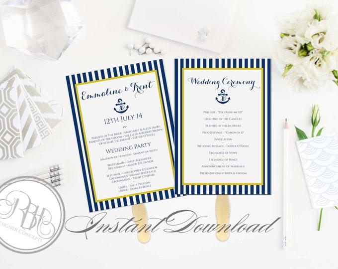 Nautical Wedding Program Fan Template -Instant DOWNLOAD - EDITABLE TEXT pdf Only - Nautical Navy Yellow Stripe 5 x 7-Xena