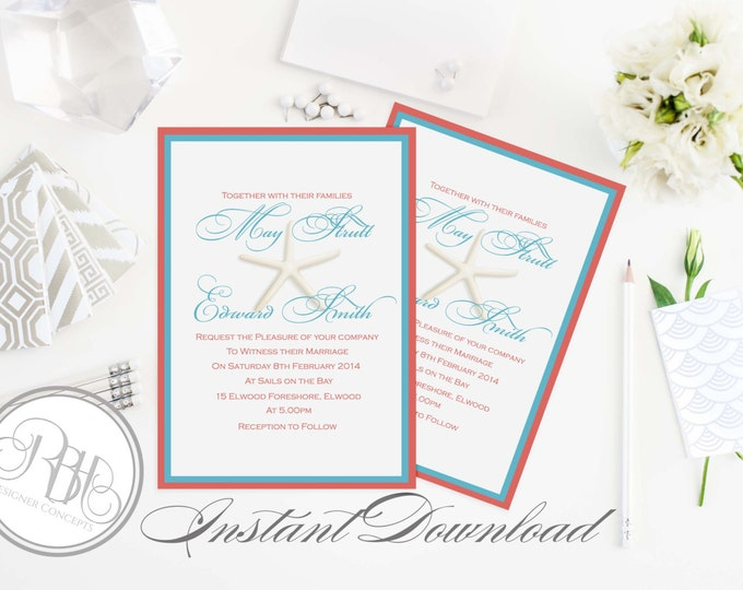 "Beachside Wedding Invitation Template-INSTANT DOWNLOAD-5x7 PDF Editable Text Only-Starfish Beachside-Turquoise & Coral-""Natahlia"""