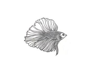 Betta Fish Rubber Stamp