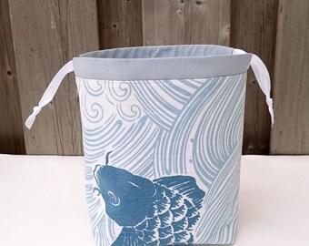 Fish print Knitting Bag, Knitting Project Bag for two at a time sock knitting, Drawstring Tote Bag - Small Socksack