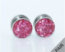 Pink Crushed Glass Plugs / 8g, 6g, 4g, 2g, 0g, 00g, 7/16, 1/2, 9/16, 5/8, 11/16, 3/4, 7/8, 1 inch / Beautiful Plugs Gauges / Steel Screw On