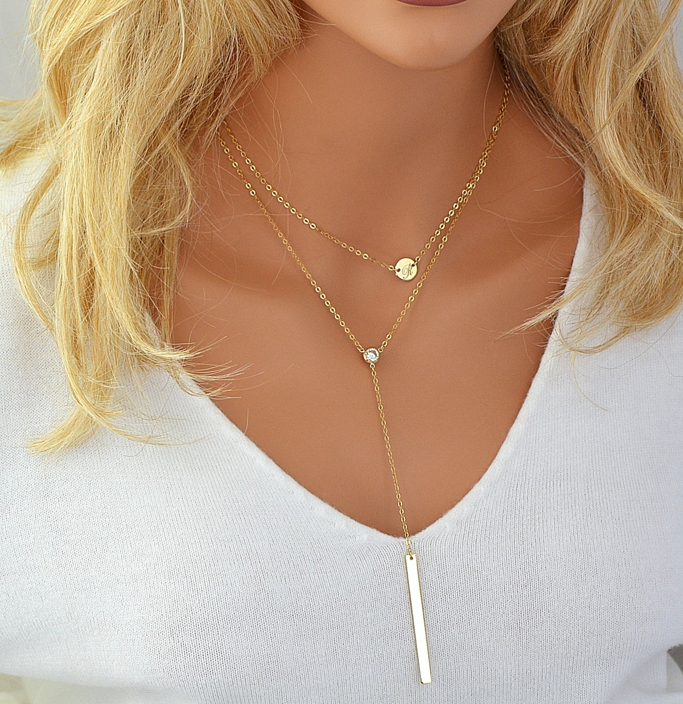 layered long necklace initial necklace long gold necklace. Black Bedroom Furniture Sets. Home Design Ideas