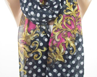 Polka Dots Scarf Sheer Scarf Navy Scarf Shawl Infinity Scarf Circle Scarf Women Fashion Accessories Holiday Christmas Gift For Her For Women