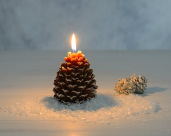 Woodland Pine Cone Hand-Poured Candle | Snowy Pine Cone Candle | Woodland Candle