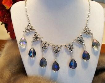 Game of Thrones Sansa Stark Purple Wedding Inspired Rainbow Crystal Drops necklace bib Renaissance Medieval Fanasy Prom Fantasy