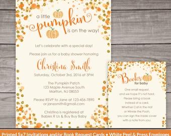 Little Pumpkin Baby Shower Invitations - Glitter Pumpkin - Printed Invitations -  Baby-248