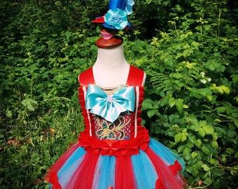 circus costume/ringmaster costume/circus tutu dress/red turquoise ringmaster/carnival tutu dress