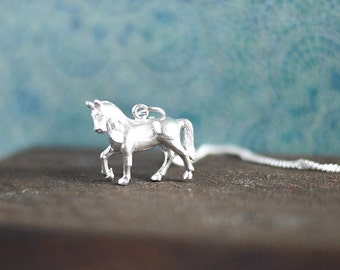 Silver Horse Necklace • Horse lover gifts, jewellery, sterling silver charm, show jumping, dressage, pony club, Birthday, , animal