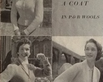 Vintage 1950s Knitting Pattern for 3 Ladies Cardigans / Jackets