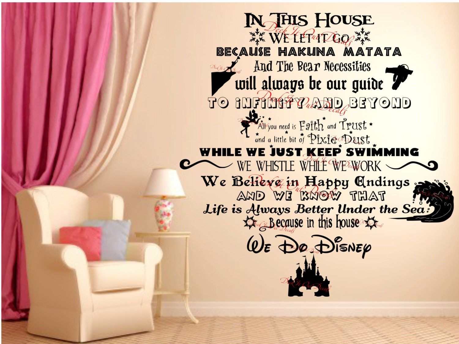 In This House We Do Disney Vinyl Wall Decal EXTRA LARGE - Custom vinyl wall decals disney