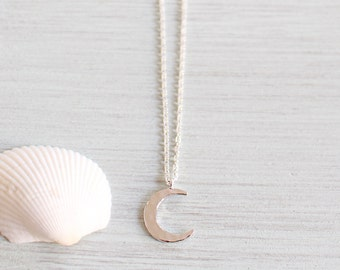 Small Hammered Silver Crescent Moon Necklace - Tiny Crescent Moon Necklace - Little Crescent Moon Pendant - Tiny Silver Moon Jewellery