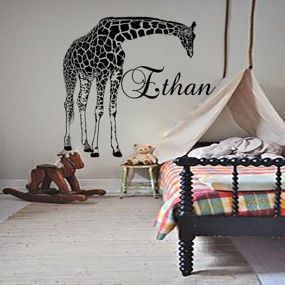 Personalized name wall decals giraffe decal vinyl by cozydecal for Giraffe bedroom ideas
