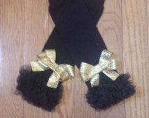Black Chiffon Ruffled Leg Warmers with gold glittery bling bows, baby girl, toddler,infants, photo prop, girls, tutus, sets