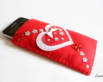 Phone case felt red with flowers, smartphone wallet, sleeve, Iphone cover