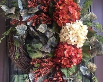 Hydrangea Wreath, Front Door Wreath, Summer Hydrangeas, Summer Decor, Berry Wreath, Grapevine Wreath