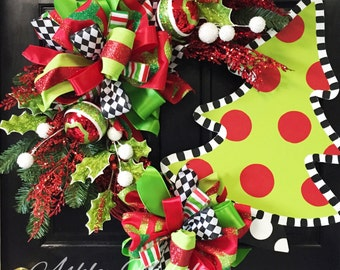Christmas Tree Wreath, Christmas, Door Decor