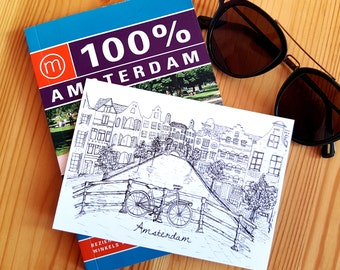Amsterdam canals souvenir postcard (A6)