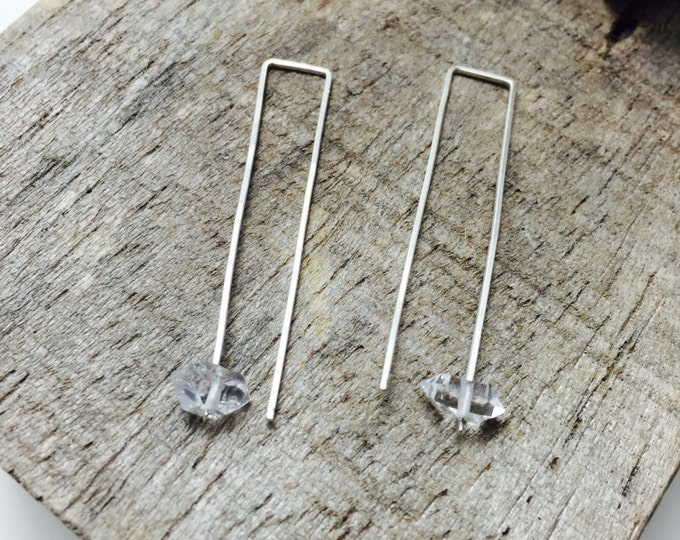 No. 47 Herkimer Diamond Minimal Geometric Rectangle Threader Earrings / Sterling Silver w/ 22 gauge Modern