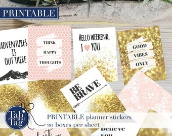 25 Printable QUOTE planner stickers in pink for Erin Condren VERTICAL and HORIZONTAL planners with gold glitter and femine patterns.