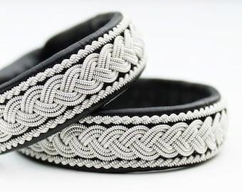 Sami bracelet   Saami armband   bracelet lapon   saami bracelet   lapland bracelet   viking bracelet   black   swedish Sami leather bracelet