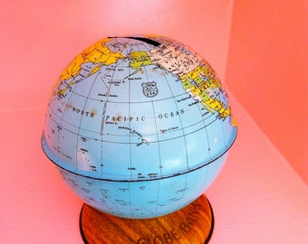 Vintage small tin globe bank